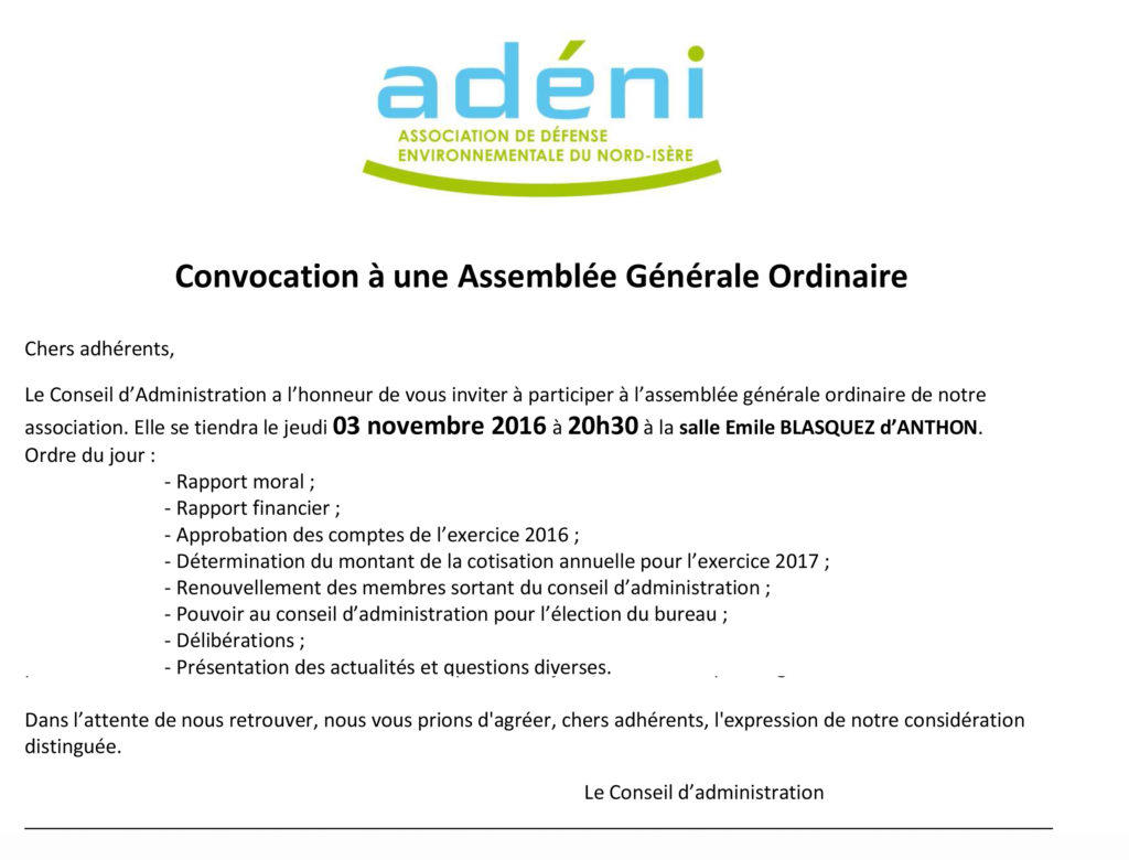 16-11-03 - A.G. Ordi. - Exercice 2016 - Convocation